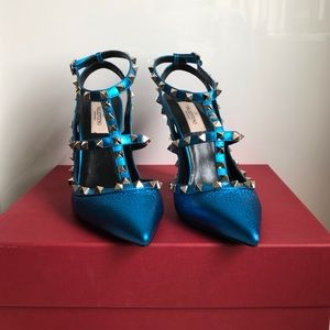 Valentino Metallic Blue Rockstud Pump 100 MM - NWT